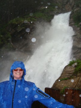 Standing at a point halfway up the Krimml waterfalls in a thunderstorm